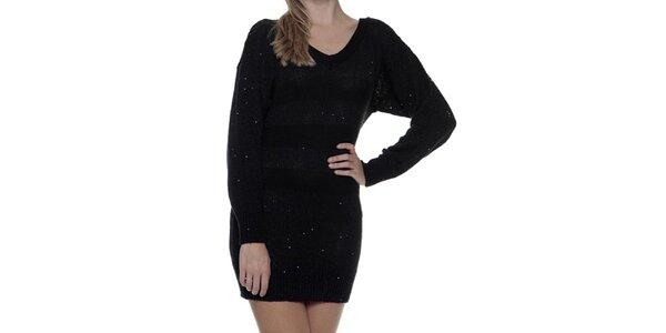 a738390a0820 Dámske čierne pletené šaty s dlhým rukávom Guess