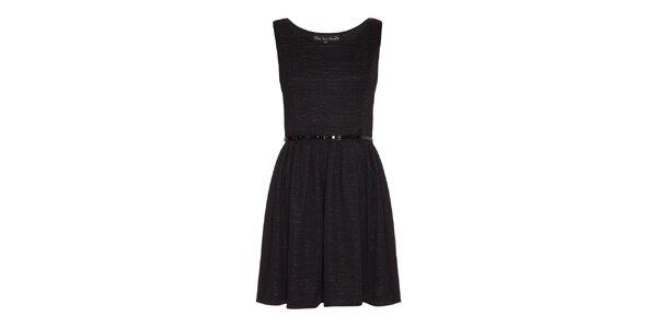 Dámske čierne šaty s opaskom Iska