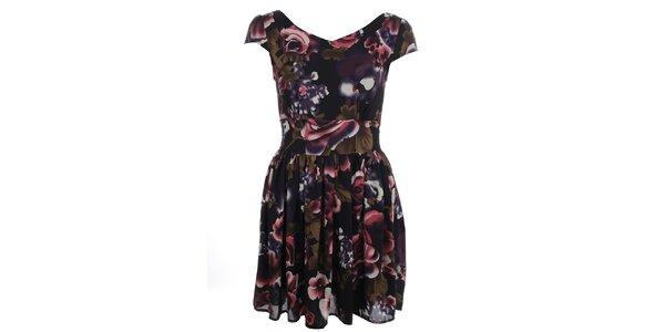 Dámske čierne šaty s farebným kvetinovým vzorom Iska