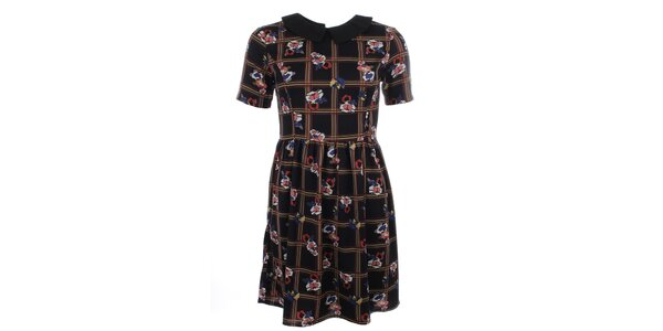 Dámske čierne šaty s farebným vzorom a golierom Iska