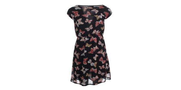 Dámske čierne šaty s farebnými motýlikmi Iska
