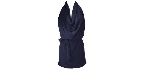 Dámske temno modré šaty s vodopádom Virginia Hill