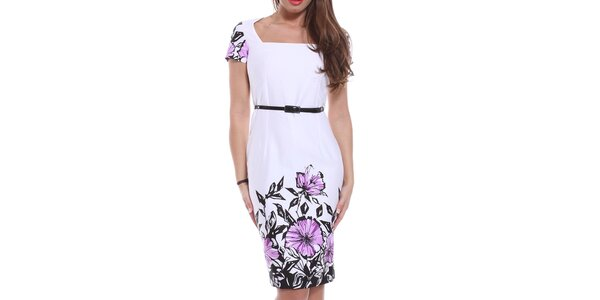 99f84f488f Dámske biele púzdrové šaty s kvetinami Melli London