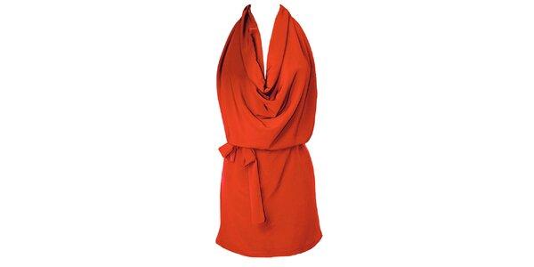 Dámske červené šaty s vodopádom Virginia Hill