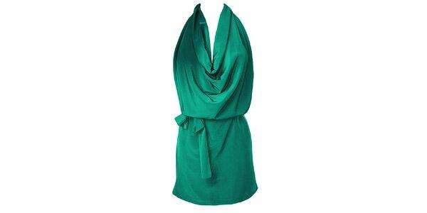 Dámske zelené šaty s vodopádom Virginia Hill