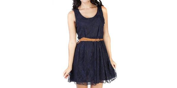 Dámske tmavomodré čipkované šaty Pepper Tree a31c5a90c9f