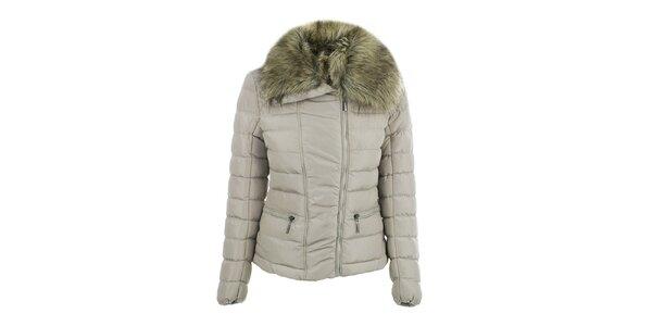 Dámska béžová bunda s veľkým golierom B.style