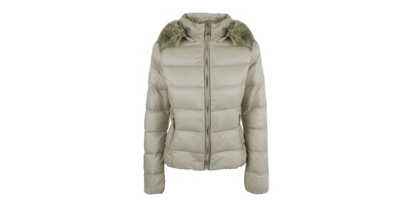 Dámska béžová prešívaná bunda s kapucňou B.style