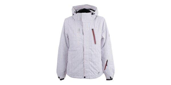 Dámska biela lyžiarska bunda s kockovaným vzorom Joluvi