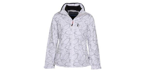 Dámska biela lyžiarska bunda so vzorom Bergson