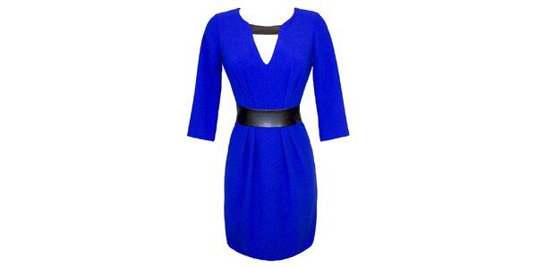 Dámske modré šaty s kontrastným pásikom Virginia Hill