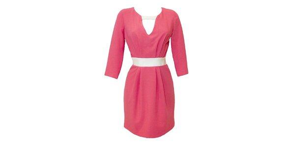 Dámske korálové šaty s kontrastným pásikom Virginia Hill