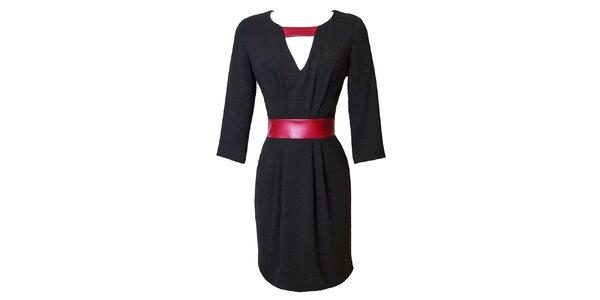 Dámske čierne šaty s kontrastným červeným pásikom Virginia Hill