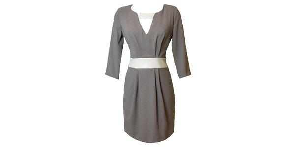 Dámske šedé šaty s kontrastným pásikom Virginia Hill