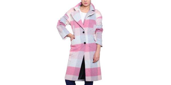 f3a69ccb6f1c Dámsky károvaný pastelový oversized kabát Vera Ravenna