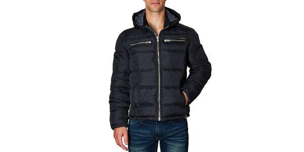 9d37e1d6d2 Pánska čierna prešívaná bunda s kapucňou Paul Stragas