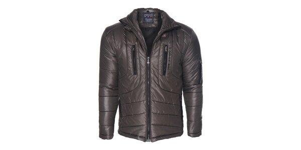 ca5bc7b950 Výpredaj pánskych búnd a kabátov – všetko skladom. Táto kampaň už skončila.  Pánska hnedo-šedá prešívaná bunda Giorgio di Mare