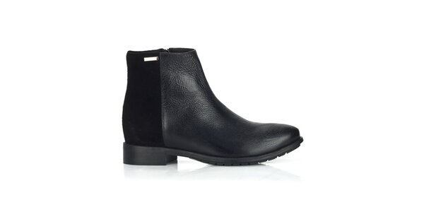 Dámske kožené čierne topánky na zips Joana and Paola