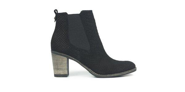 Dámske čierne nubukové chelsea topánky so šupinkami Joana and Paola