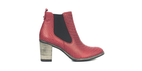 Dámske červené chelsea topánky so šupinkami Joana and Paola