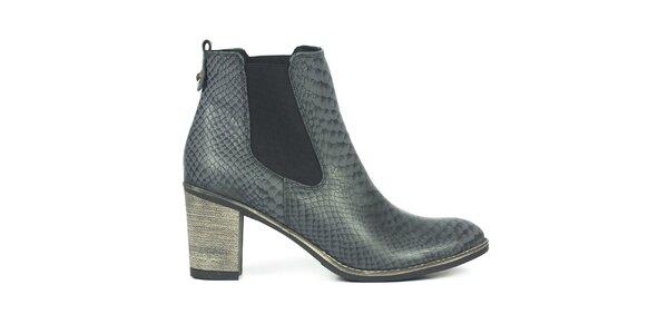 Dámske šedé chelsea topánky so šupinkami Joana and Paola