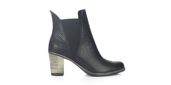 Dámske čierne chelsea topánky so šupinkami Joana and Paola