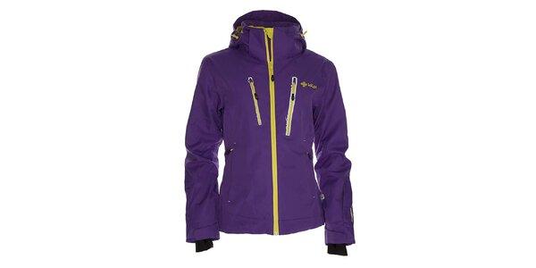Dámska fialová snowboardová bunda so žltým zipsom Kilpi