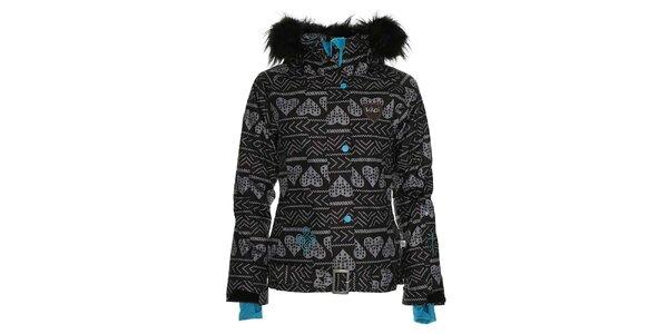 Dámska čierna snowboardová bunda so srdcovou potlačou Kilpi