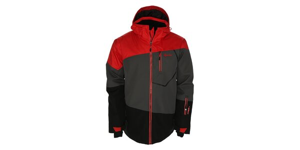 Pánska šedo-čierno-červená snowboardová bunda Kilpi