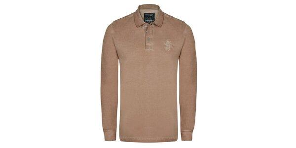 Pánske béžové polo tričko s dlhým rukávom Giorgio di Mare