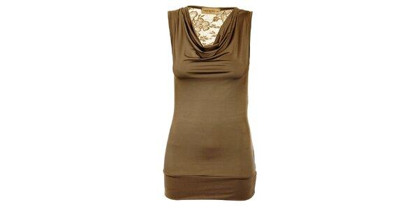Dámsky svetlo hnedý top Comptoir des Parisiennes s čipkovaným chrbtom