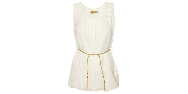 Dámská biela tunika Comptoir des Parisiennes so zlatým opaskom