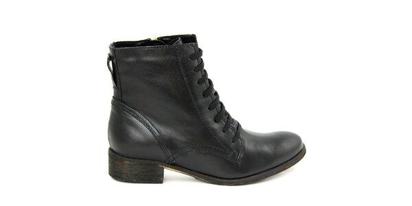 Dámske čierne šnurovacie členkové topánky so zipsom Giorgio Picino