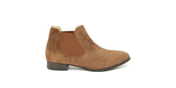 Dámske hnedé semišové členkové topánky Giorgio Picino
