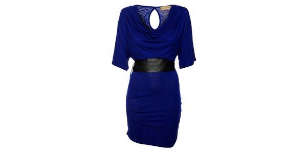 Dámske sýto modré šaty Comptoir des Parisiennes so širokým opaskom