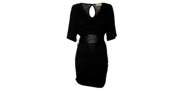 Dámske čierne šaty Comptoir des Parisiennes so širokým opaskom