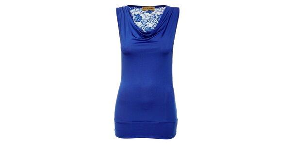 Dámsky kráľovsky modrý top Comptoir des Parisiennes s čipkovaným chrbtom