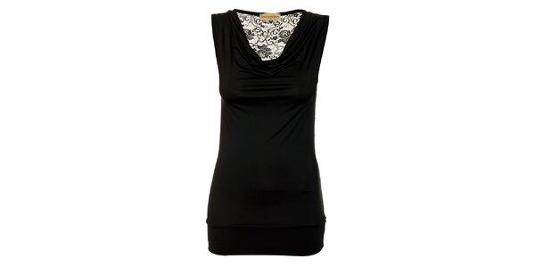 Dámsky čierny top Comptoir des Parisiennes s čipkovaným chrbtom