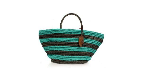 Dámska zelená pruhovaná taška Max Mara