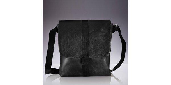 Pánska čierna kožená crossbody taška Solier