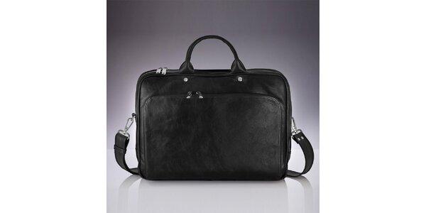 Pánska čierna kožená taška Solier