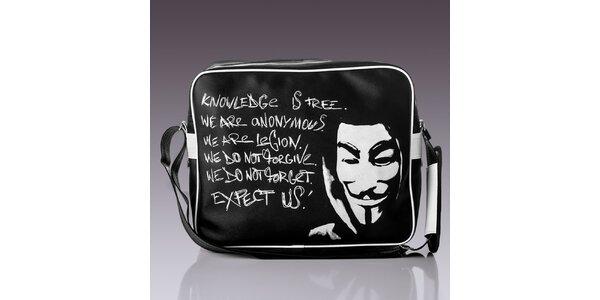 Pánska čierna taška s bielym nápisom Solier