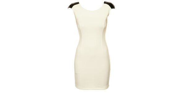 Dámske biele púzdrové šaty Comptoir des Parisiennes so zlatou reťazou