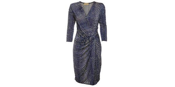 Dámske tmavo modré zavinovacie bodkované šaty Comptoir des Parisiennes