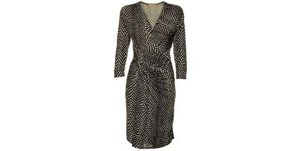 Dámske čierne zavinovacie bodkované šaty Comptoir des Parisiennes