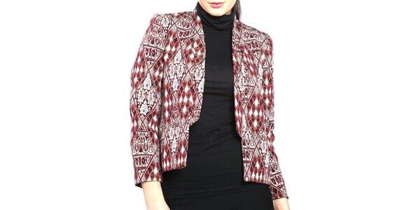 500afbe490 Výpredaj dámskych búnd a kabátov – všetko skladom. Táto kampaň už skončila.  Dámske vínovo-šedé sako Vera Ravenna