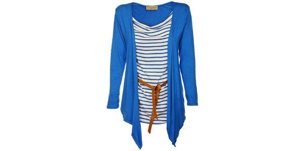 Dámsky žiarivo modrý top Comptoir des Parisiennes s kardigánom a opaskom