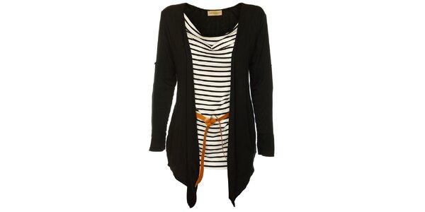 Dámsky čierno-biely top Comptoir des Parisiennes s čiernym kardigánom a opaskom