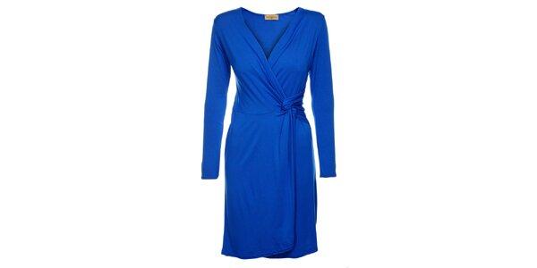 Dámske žiarivo modré zavinovacie šaty Comptoir des Parisiennes