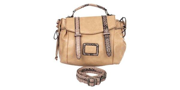 Dámska béžová kabelka so vzorovanými detailmi Elite